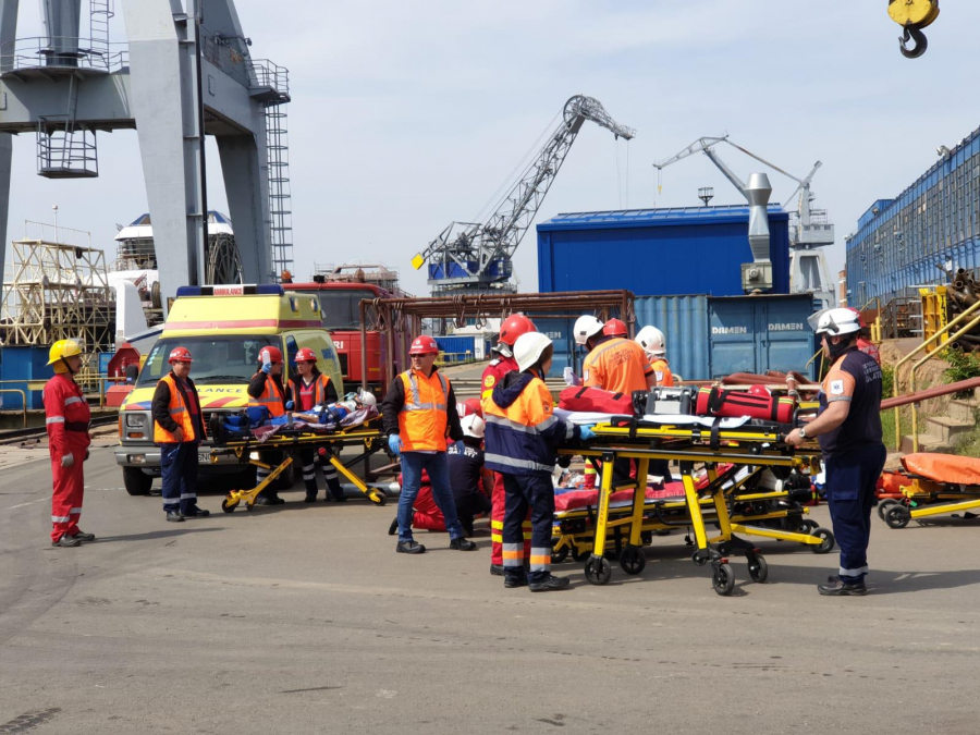 Simulare de accident naval cu victime multiple, la Damen